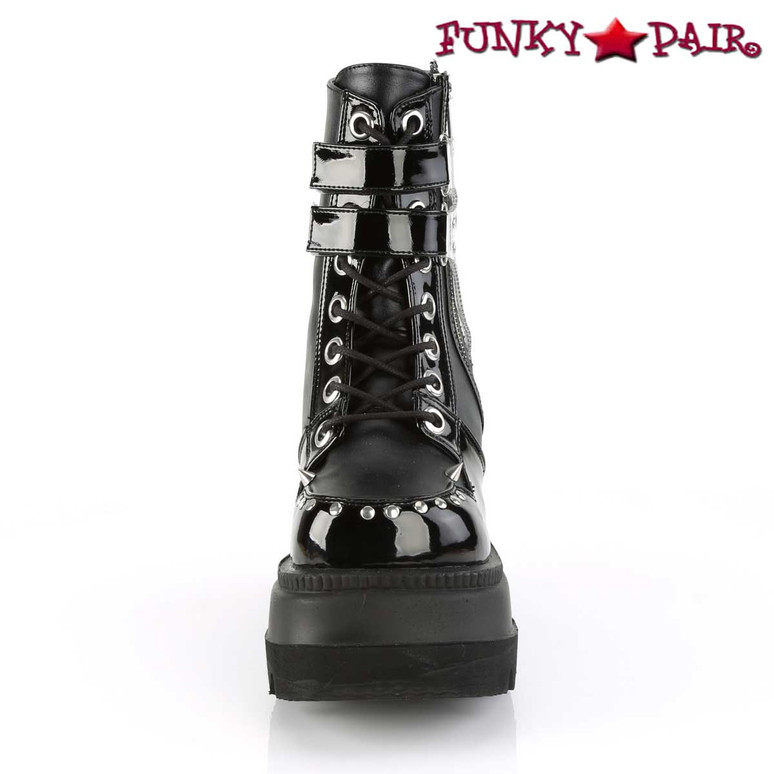 Shaker-57, 4.5 Inch Wedge Lace Up Ankle Boots front view