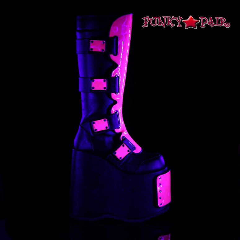 Demonia Slay-310, Interchangeable Panels Platform Boots side view