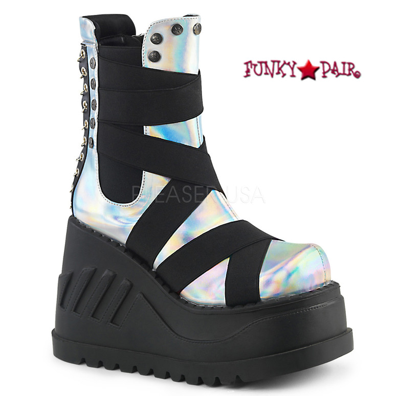 Stomp-25, 4.75 Inch Platform Wedge Mid-Calf with Criss-Cross Panels