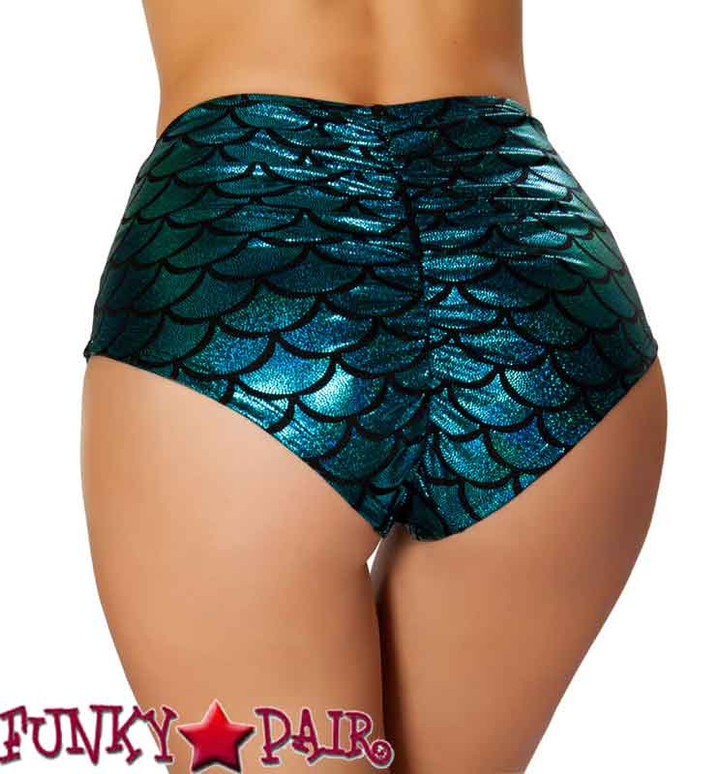 Rave Mermaid High-Waisted Shorts | Roma R-SH3313 color blue back view