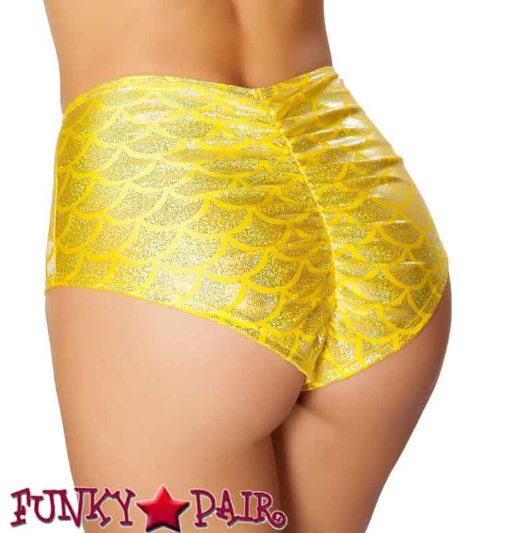 Rave Mermaid High-Waisted Shorts | Roma R-SH3313 color yellow back view