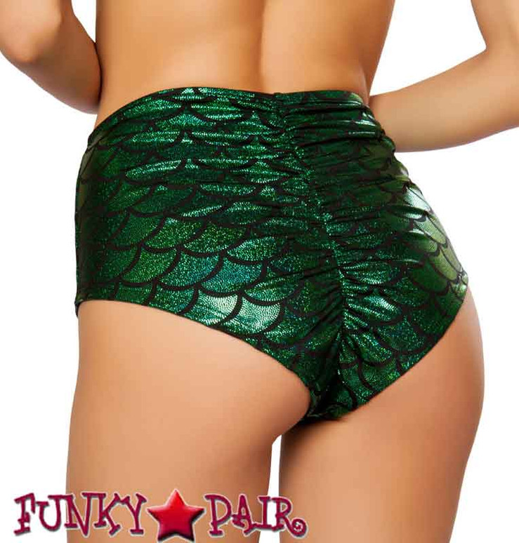 Rave Mermaid High-Waisted Shorts | Roma R-SH3313 color green back view