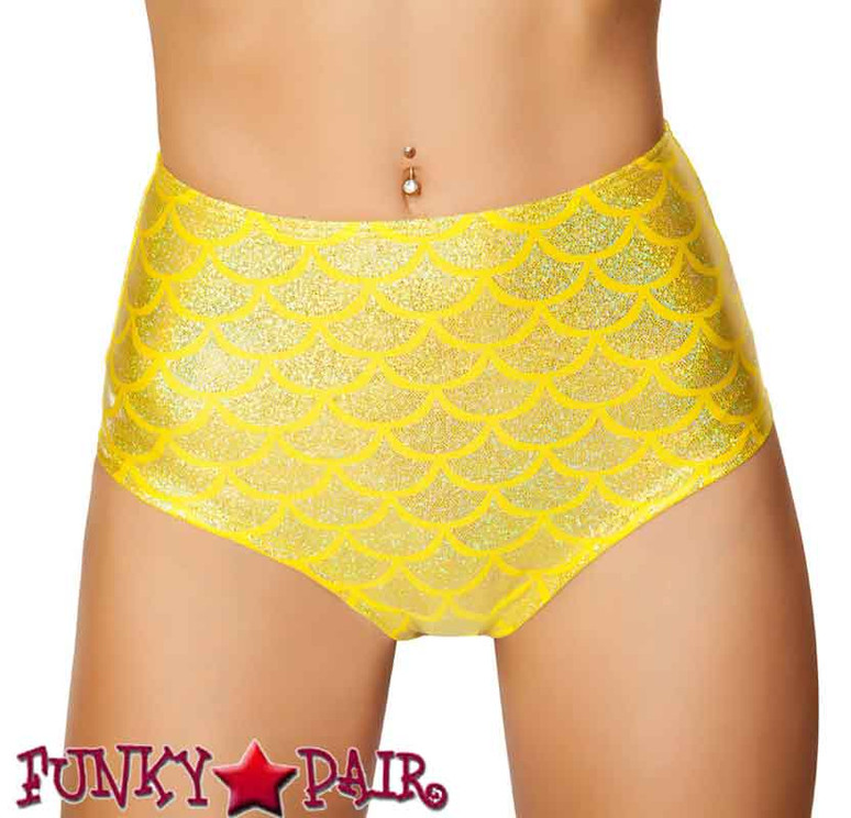 Rave Mermaid High-Waisted Shorts | Roma R-SH3313 color yellow front view