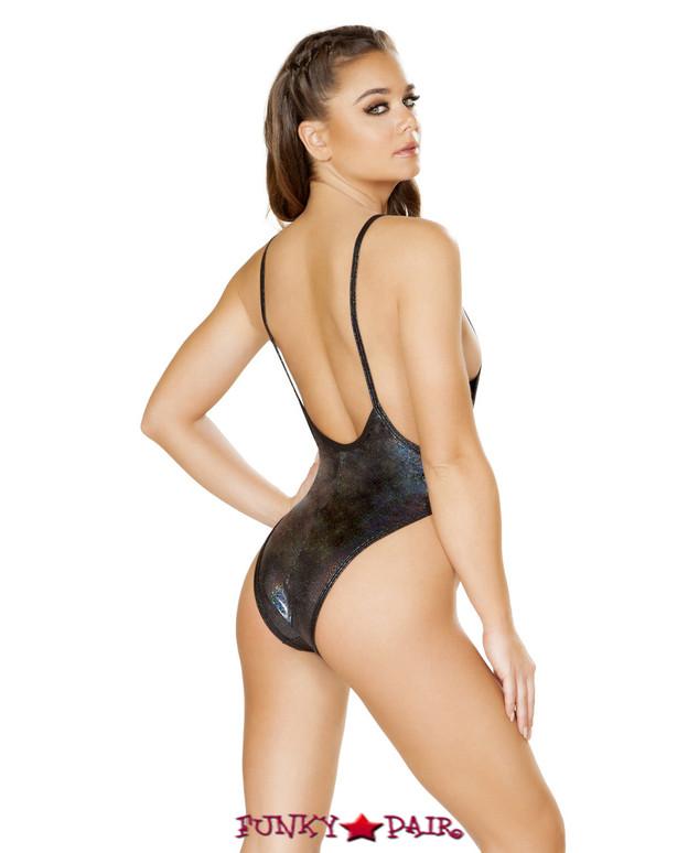 Roma | R- 3549, Rave Low Cut Bodysuit color black back view