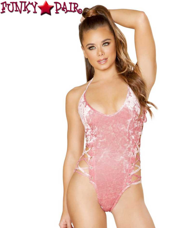 Roma | R- 3578, Rave Velvet Side Strap Bodysuit Color pink front view