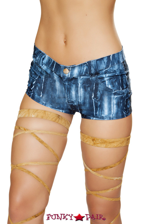R-3590, Denim Print Shorts