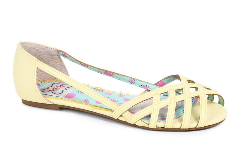 BP100-Carren, Criss Cross Flat Sandal color yellow