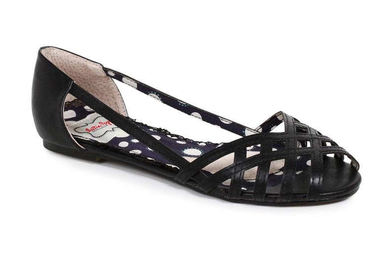 BP100-Carren, Criss Cross Flat Sandal color black