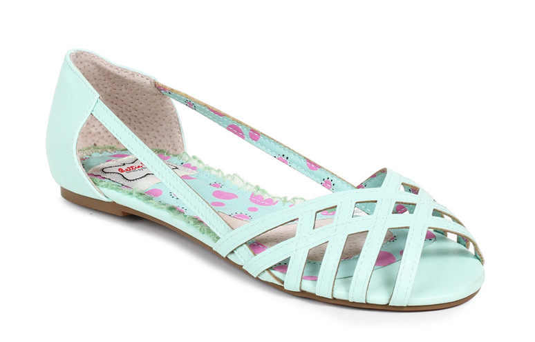 Bettie Page | BP100-Carren, Criss Cross Flat Sandal  color teal