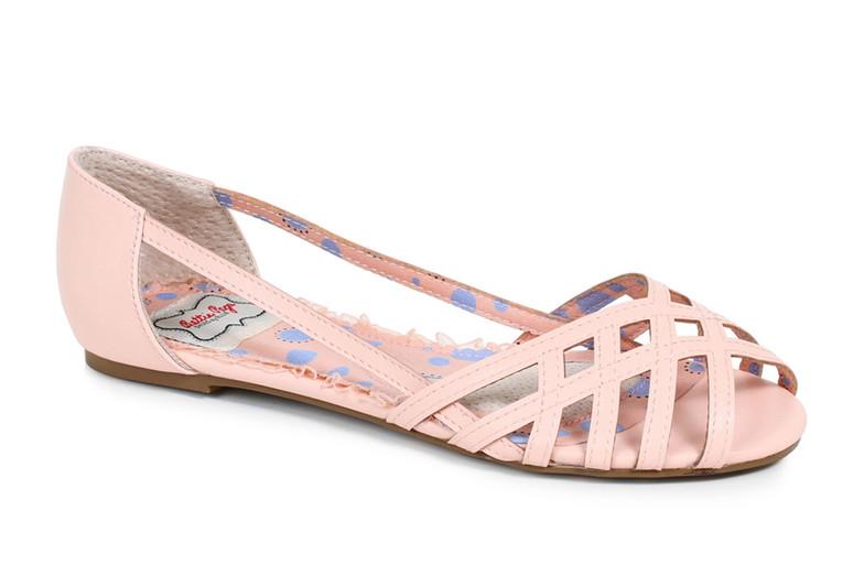 Bettie Page | BP100-Carren, Criss Cross Flat Sandal  color pink