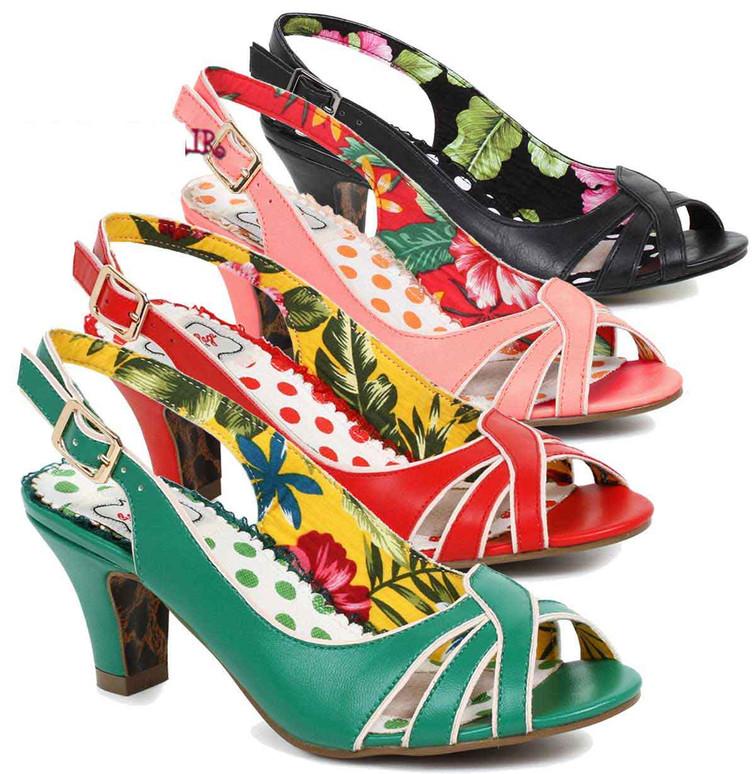 Bettie Page Heels | BP250-Cara, Sling Back Sandal