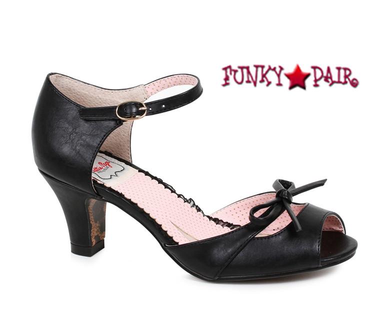 Black BP250-Tegan, 2 Inch Peep Toe Sandal with Bow