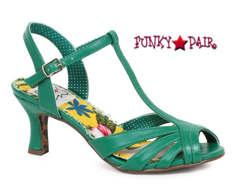 Green BP300-Layla, 3 Inch Peep Toe T-Strap Sandal