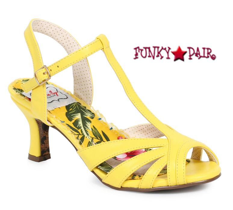 Yellow BP300-Layla, 3 Inch Peep Toe T-Strap Sandal