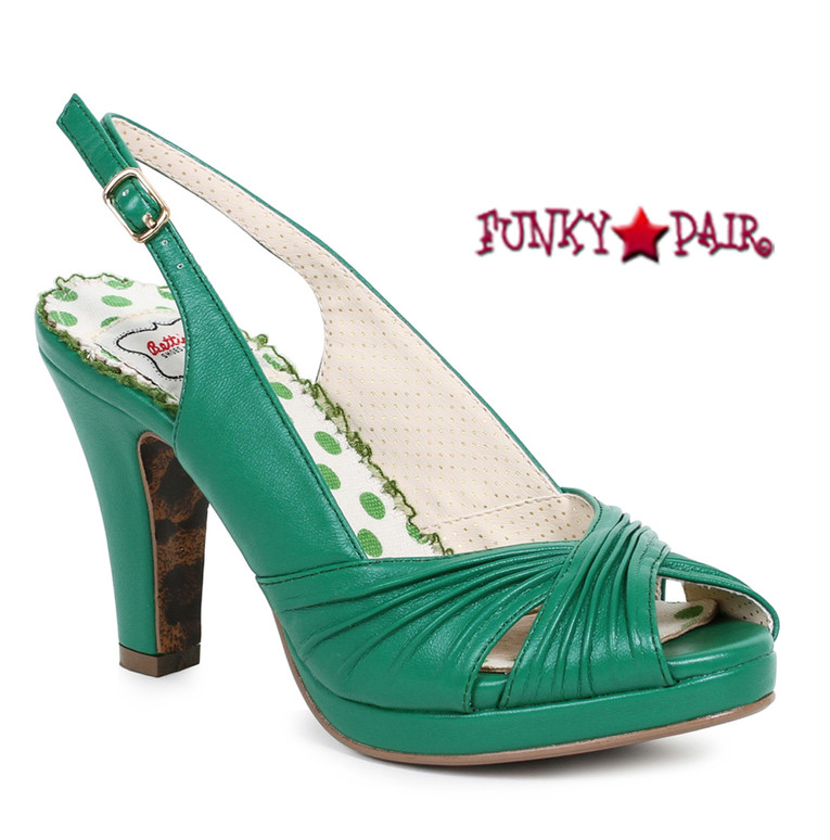 BP401-Selene, 4 Inch Ruched Peep Toe Sandal color green