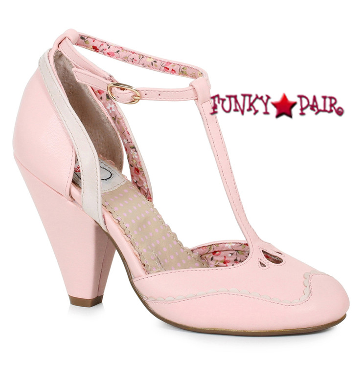 Bettie Page | BP403-Annalise, Chunky Heel T-Strap Sandal color pink