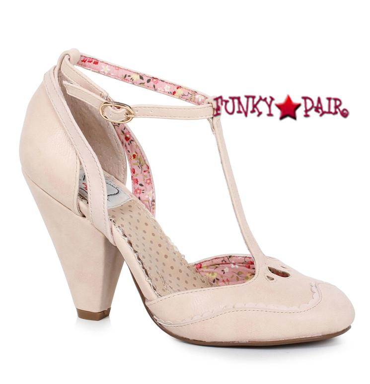 Bettie Page | BP403-Annalise, Chunky Heel T-Strap Sandal color nude