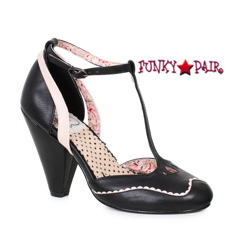 BP403-Annalise, 4 Inch Chunky Heel T-Strap Sandal color black