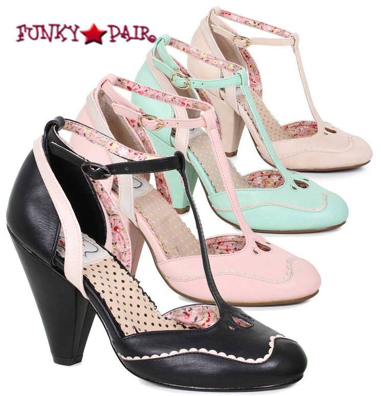 Bettie Page | BP403-Annalise, Chunky Heel T-Strap Sandal