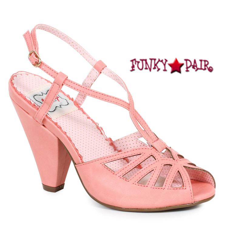 Peach BP403-Aria, 4 Inch Chunky Heel Keyhole Ankle Strap Sandal