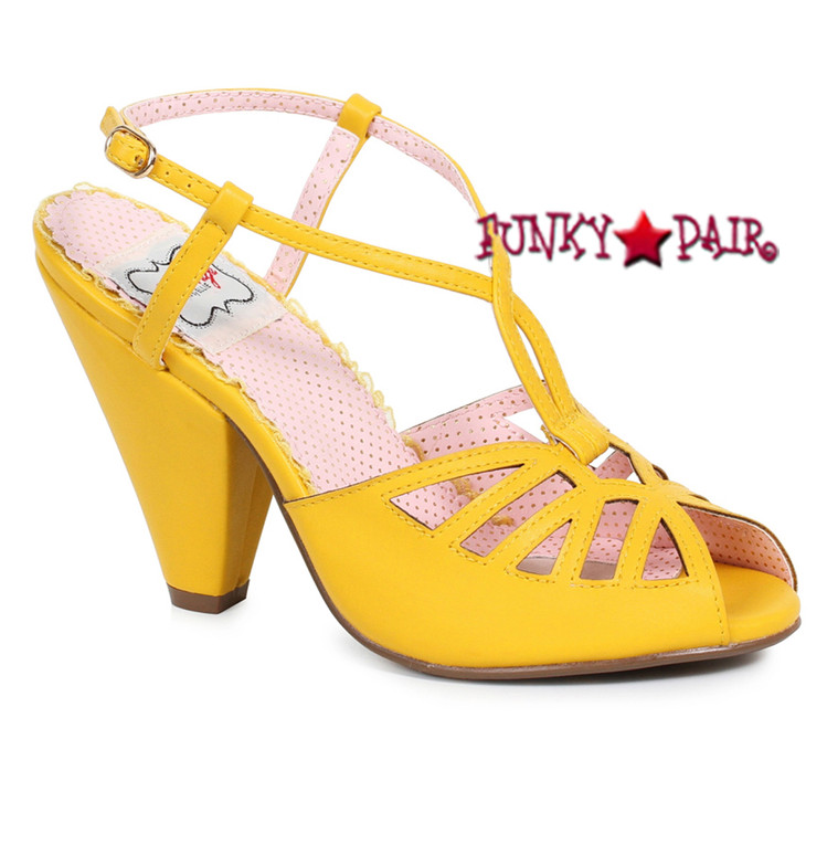 Yellow BP403-Aria, 4 Inch Chunky Heel Keyhole Ankle Strap Sandal