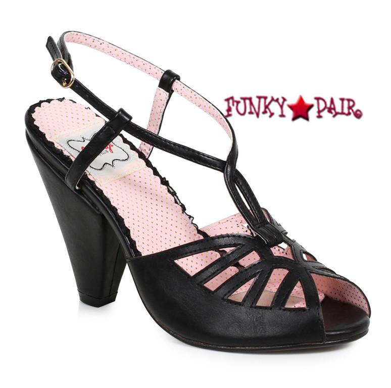 Black BP403-Aria, 4 Inch Chunky Heel Keyhole Ankle Strap Sandal