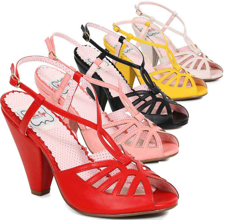 Bettie Page Shoes   BP403-Aria, Keyhole Ankle Strap Sandal