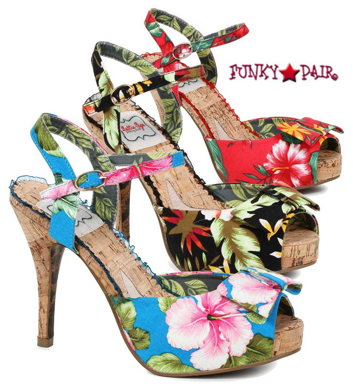 BP412-Leni, 4 Inch Cork Heel Sandal with Floral Print. color available: black, red, blue