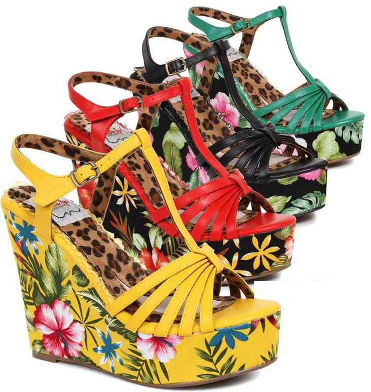 Bettie Page | BP475-Mallory, Tiki Wedge color available: yellow, green, red, black