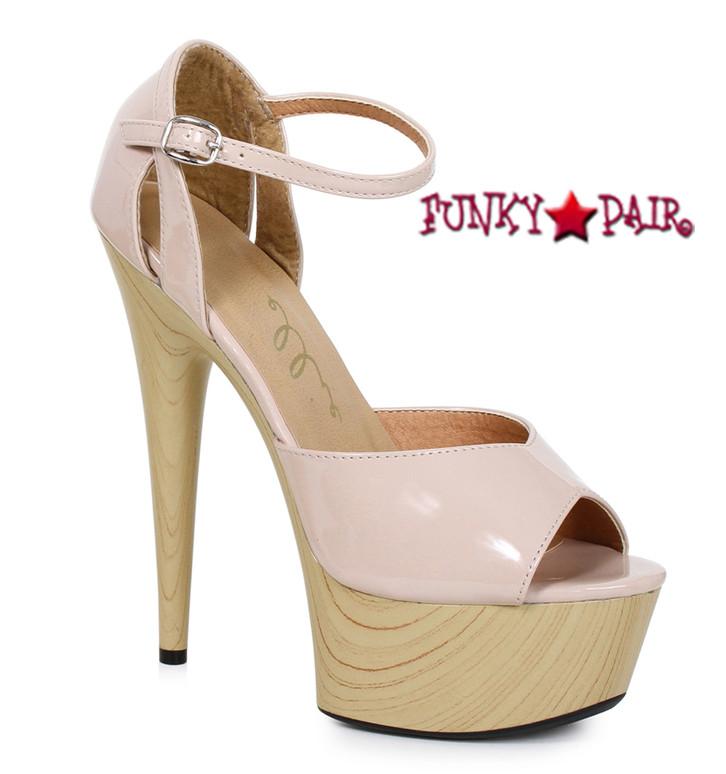 Nude 609-Billie, 6 Inch High Heel Peep Toe Wood Platform Sandal