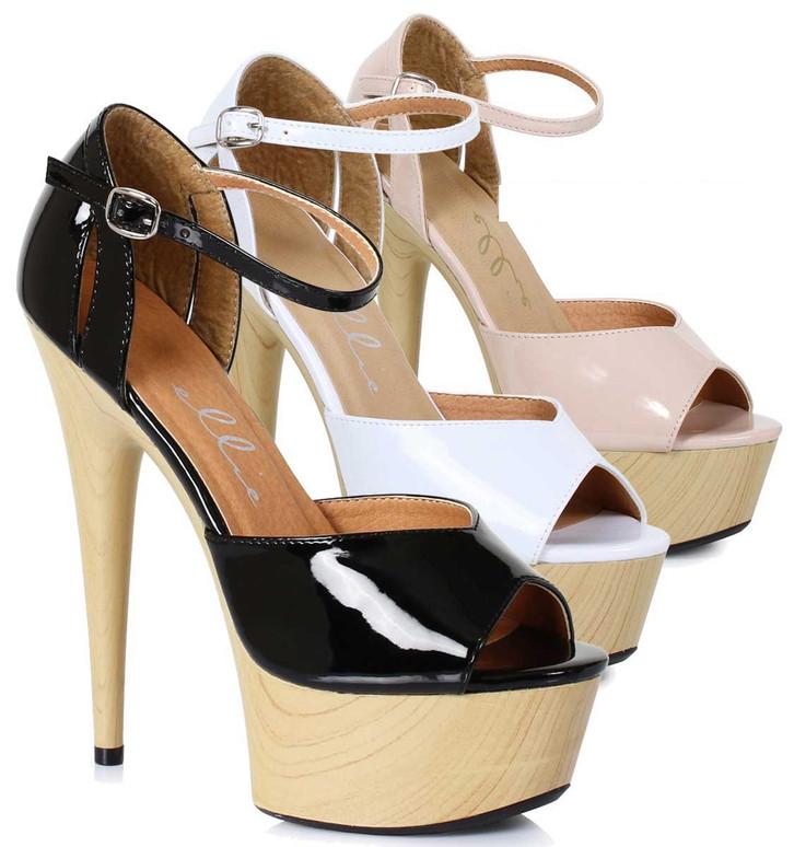 "Ellie Shoes | 609-Billie 6"" Wood D'orsay Style Sandal"