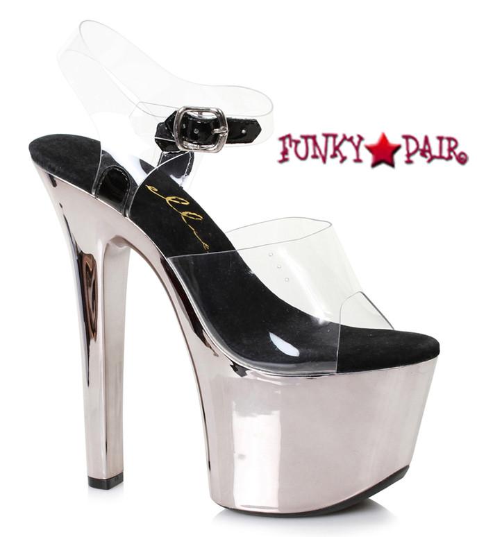 Stripper Shoes 711-Christy, 7 Inch Chrome Platform Ankle Strap Sandal