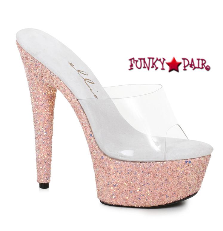 609-Serenity, 6 Inch High Heel Slide with Glitter Platform