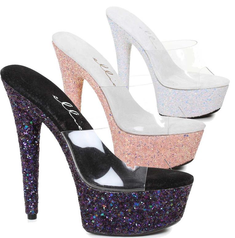 609-Serenity, 6 Inch High Heel Slide with Glitter Platform Ellie shoes