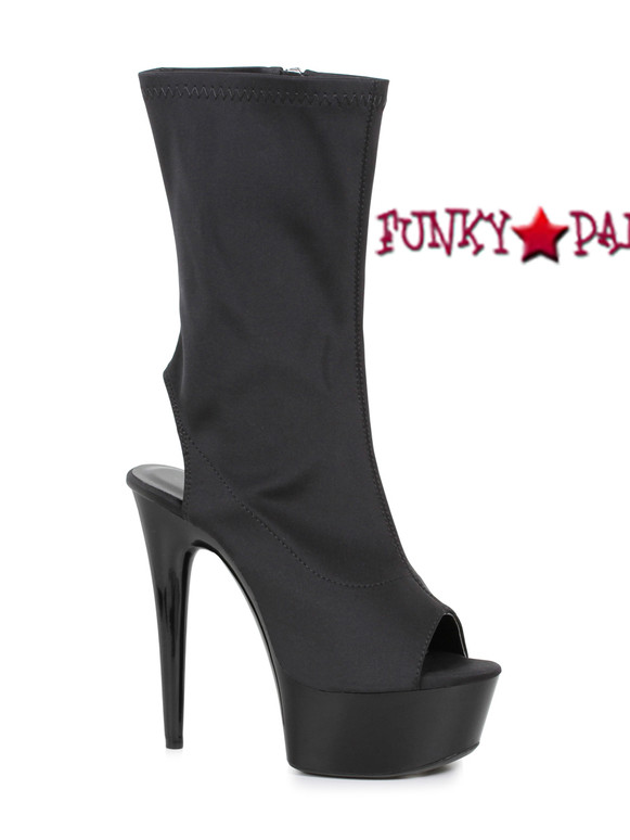 Black 609-Stacy, 6 Inch Open Toe/Back Mid-Calf Boots