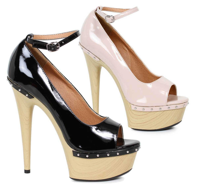 "Ellie Shoes | 609-Valerie 6"" Wood Platform Pump"