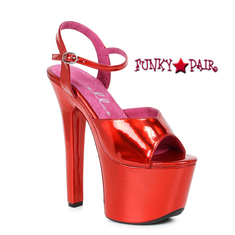 Stipper Heels by Ellie Shoes 711-Lola, 7 Inch High Heel with Metallic Platform Sandal Color Red