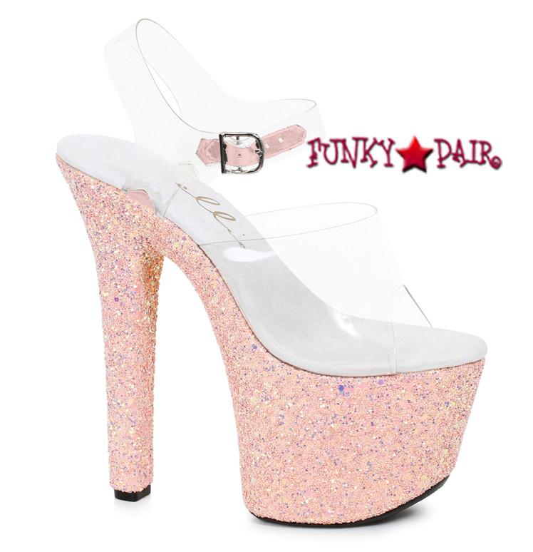 711-Serenity, 7 Inch High Heel Ankle Strap with Glitter Platform