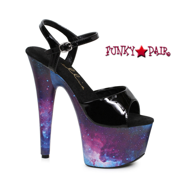 709-Orion, 7 Inch Stiletto Heel Ankle Strap Sandal with Cosmo Print | Funkypair.com