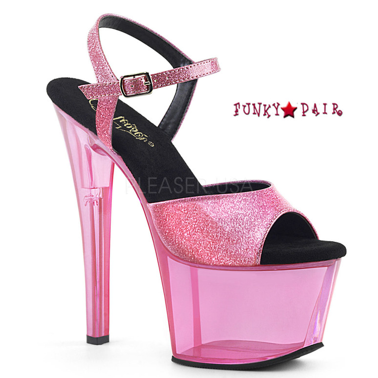 Sky-309GPT, Glitter Strap with Tinted Platform Sandal Color B. Pink Glitter Pat/B. Pink Tinted