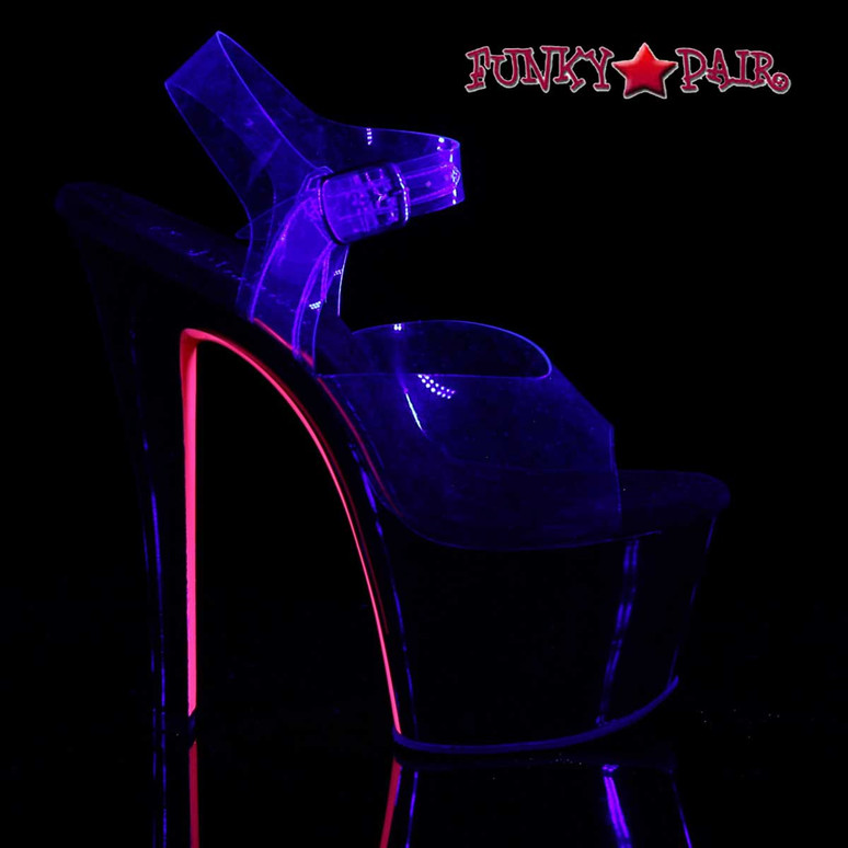 Sky-308TT, Pink UV Reactive Exotic Dancer Shoes by Pleaser