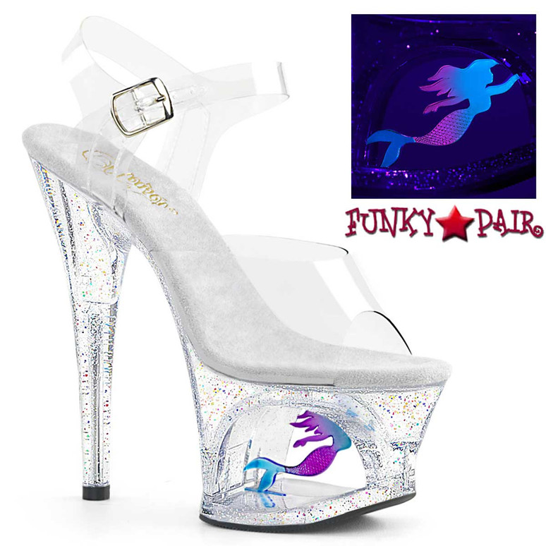 Moon-708MER, Clear 7 Inch Cutout Platform Sandal with Mermaid by Pleaser