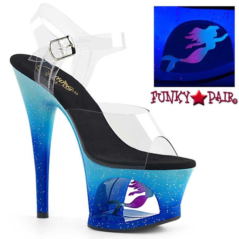 Moon-708MER, Blue 7 Inch Cutout Platform Sandal with Mermaid by Pleaser