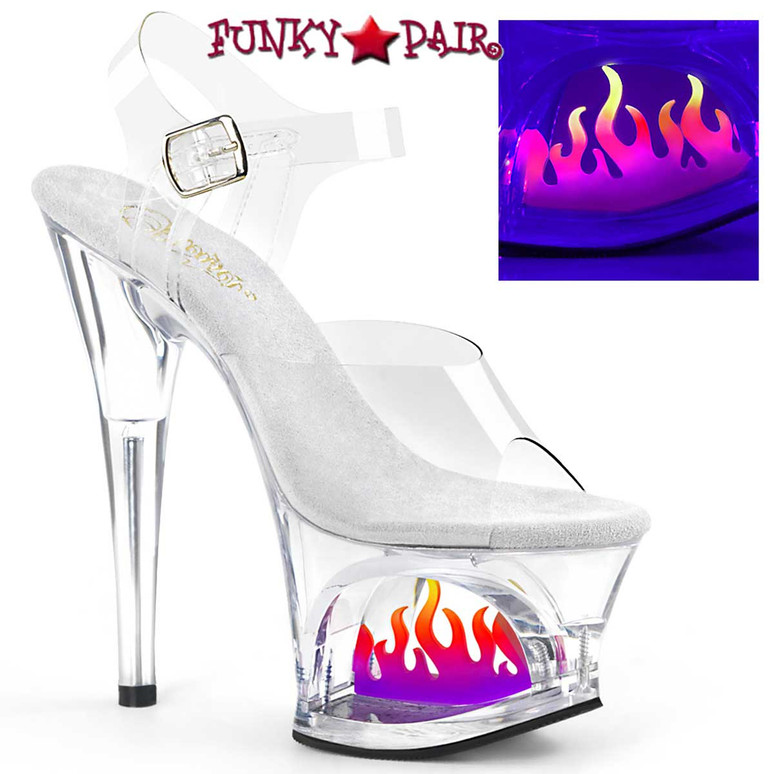 Moon-708FLM, Clear Cutout Platform Sandal with Flame by Pleaser Shoes