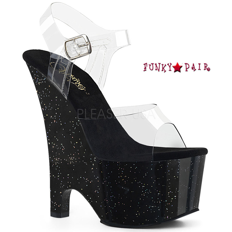 Stripper Shoes Beau-608MG, Glitter Wedge Platform Sandal Color Clr/Blk Multi Glitter
