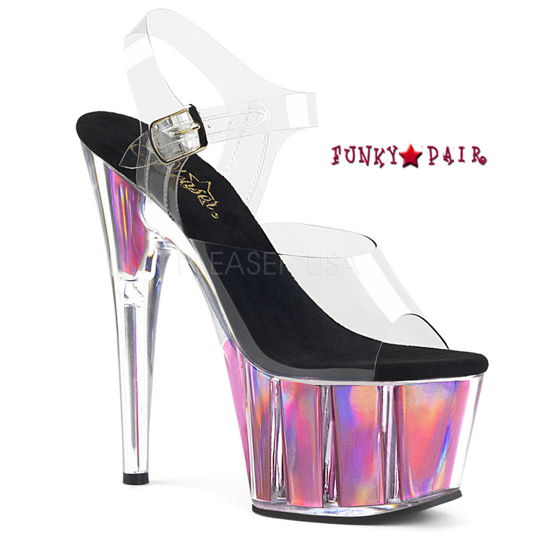 Adore-708HGI, Ankle Strap Platform with Holographic Insert Color Clr/Pink Hologram Inserts