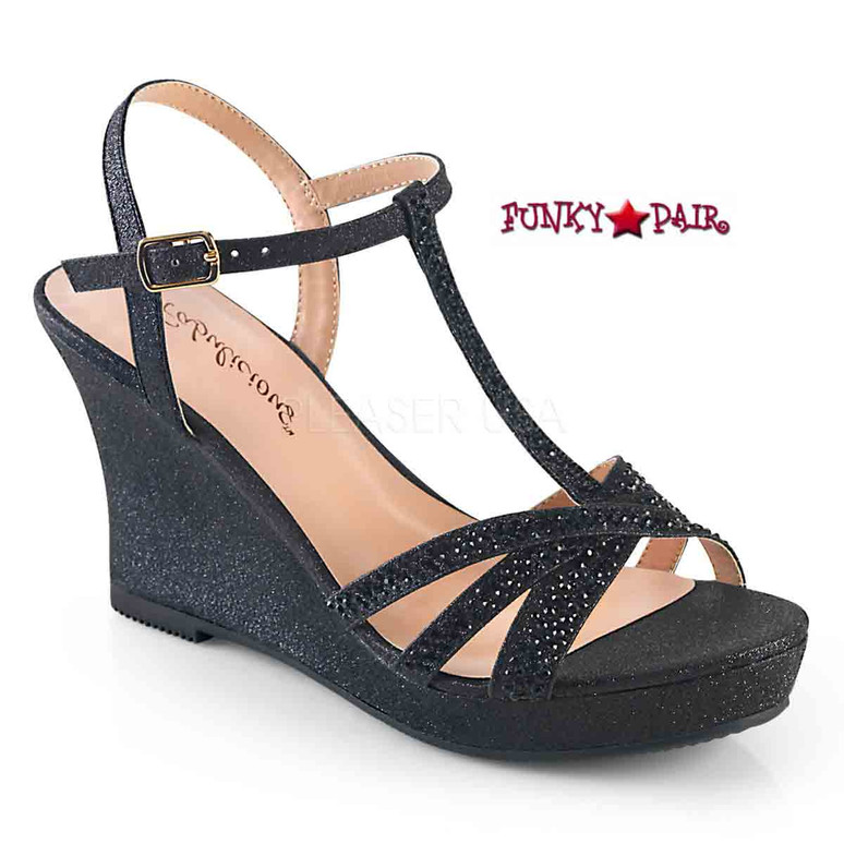 Silvie-20, Platform T-Strap Wedge Color Blk Shimmering Fabric