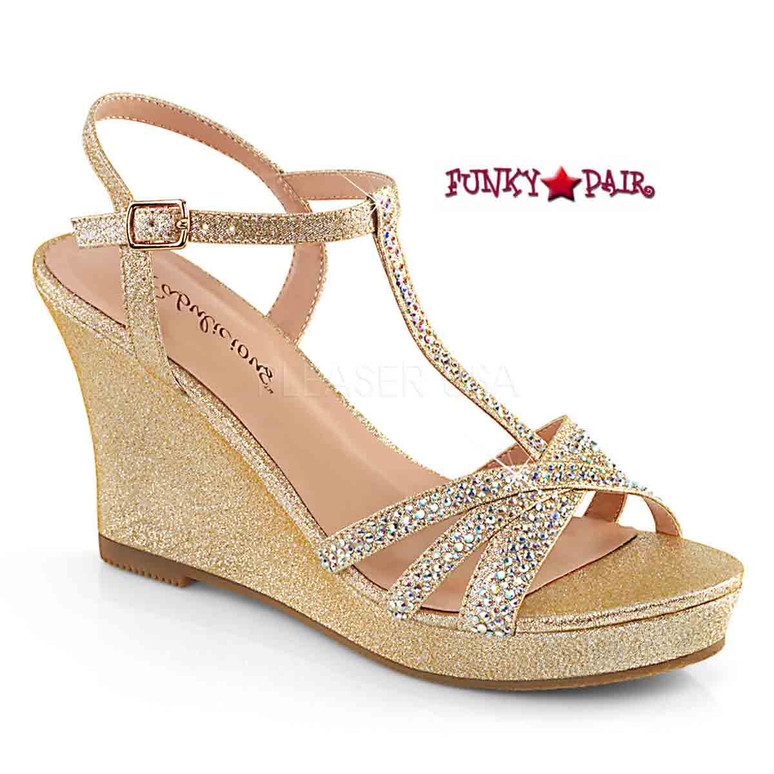 Silvie-20, Platform T-Strap Wedge Color Champagne Shimmering Fabric