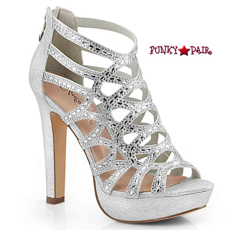 Selene-24, Cutout Cage Sandal Color Silver Shimmering Fabric