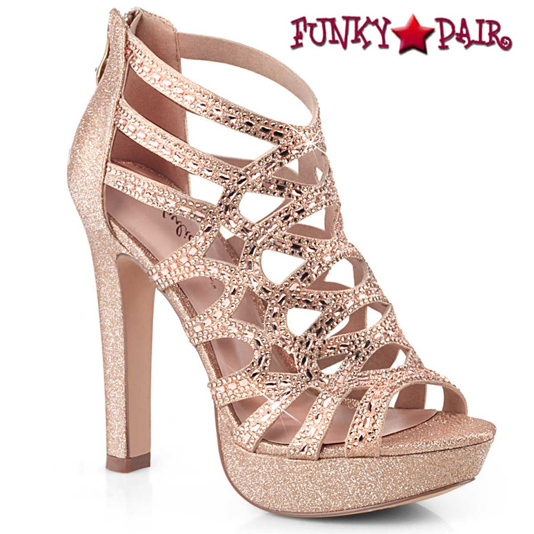 Selene-24, Cutout Cage Sandal Color  Rose GoldShimmering Fabric